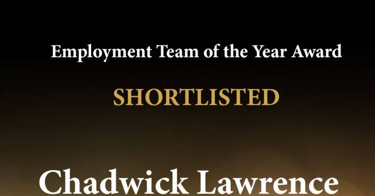 Chadwick Lawrence Shortlisted for Employment Team of the Year Award